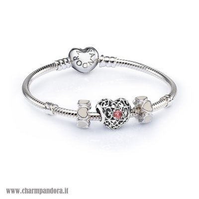 Economici Sale January Signature Heart Birthstone Charm Bracelet Set charmpandora