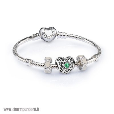 Economici Sale May Signature Heart Birthstone Charm Bracelet Set charmpandora