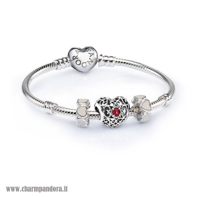 Economici Sale July Signature Heart Birthstone Charm Bracelet Set charmpandora